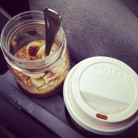Eating oatmeal on the way to work! (Yes, that is a pumpkin spice latte next to it.)